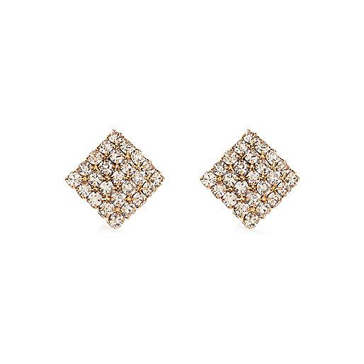 Gold tone diamanté square stud earrings