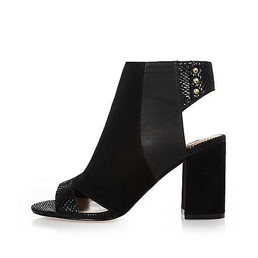 Black panel shoe boots