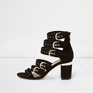 Black multi buckle strap heeled sandals
