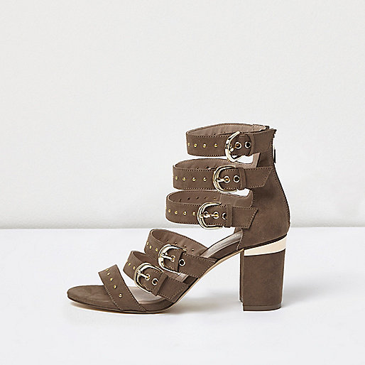 Cream multi buckle strap heeled sandals