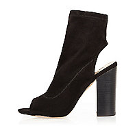 Black peep toe block heel shoe boots