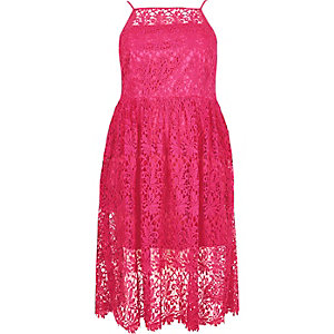 RI Plus pink lace midi dress