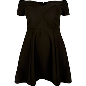 RI Plus black bardot skater dress