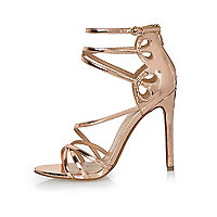 Rose gold tone strappy heels
