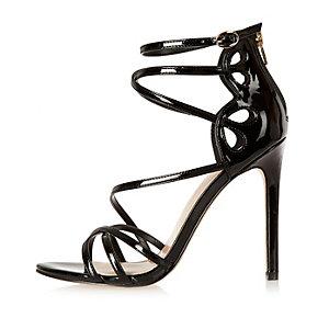Black patent strappy heels