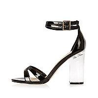 Black perspex heel sandals