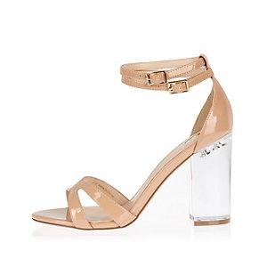 Nude perspex heel sandals