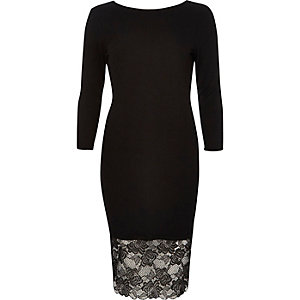 Black lace hem midi dress