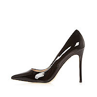 Black patent court heels