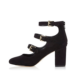 Black multi strap block heel shoes