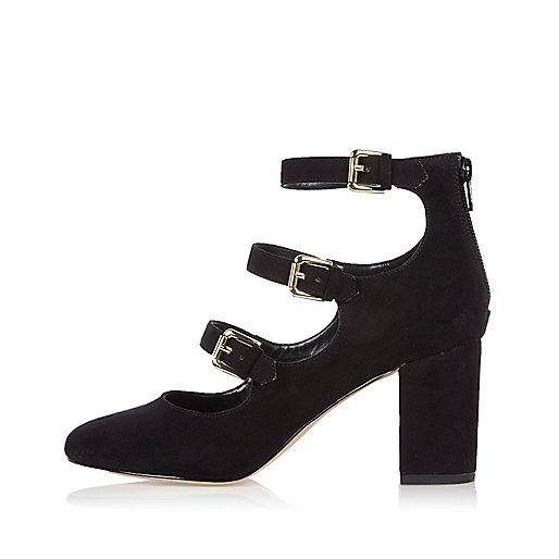 Black multi strap block heel shoes