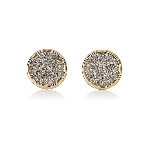 Gold tone glitter stud earrings