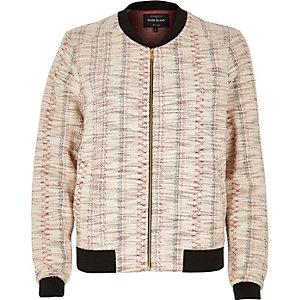 Cream Aztec print bomber jacket