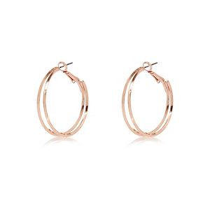 Rose gold tone double hoop earrings