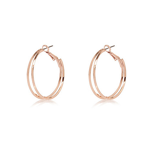 Rose gold tone double hoop earrings