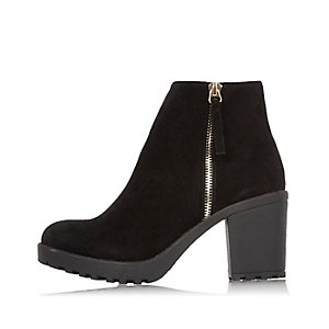 Black block heel ankle boots