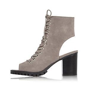Grey chunky heeled shoe boots