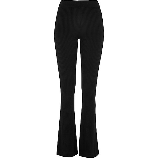 Black ribbed knit flared trouers