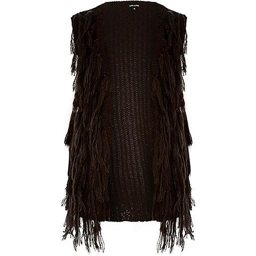 Black knit tassel vest