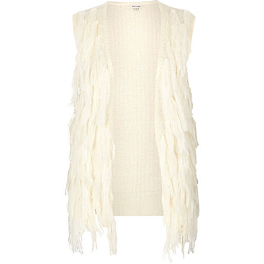 Cream knit tassel vest