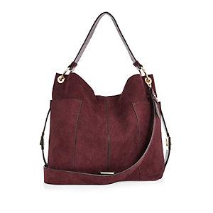 Dark red panel slouch handbag