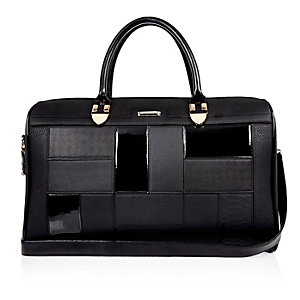Black patent panel holdall bag