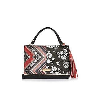 Black print cross body handbag