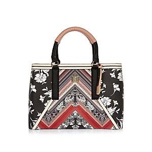 Black print tote handbag