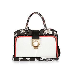 Black floral print structured tote handbag