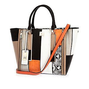 Black panelled winged tote handbag