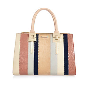 Pink stripe panelled tote handbag