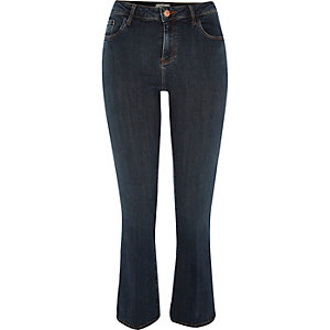 Dark blue wash smart kick flare jeans
