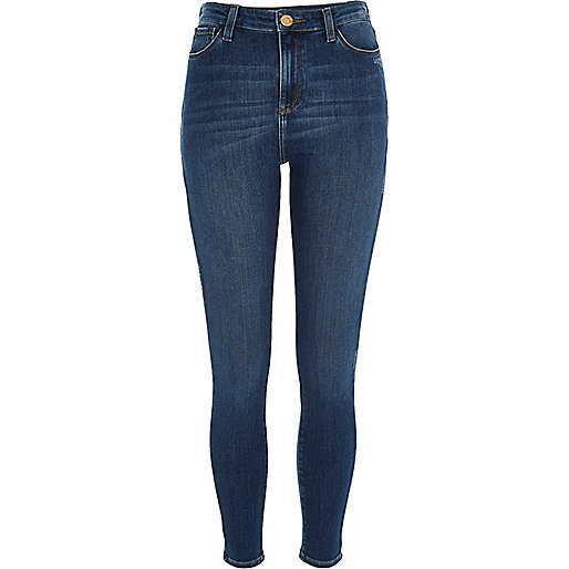 Mid blue wash high rise Molly jeggings