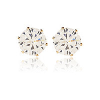White sparkling crown stud earrings