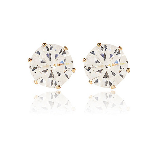White sparkling crown stud earrings