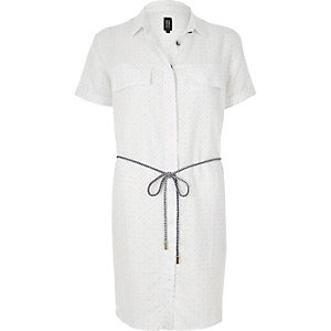 White print linen-rich shirt dress