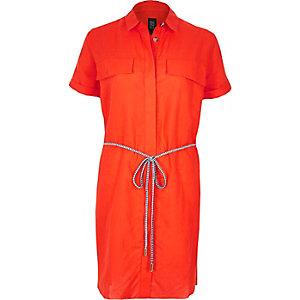 Orange linen-rich shirt dress