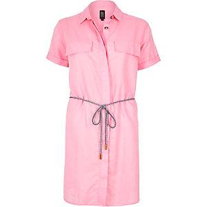 Pink linen-rich shirt dress