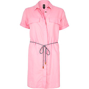 Pink linen-rich shirt dress