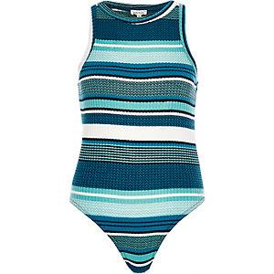 Blue stripe ribbed bodysuit