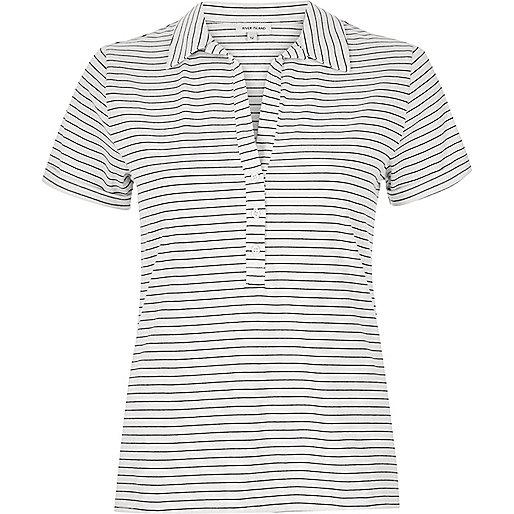 White stripe polo shirt