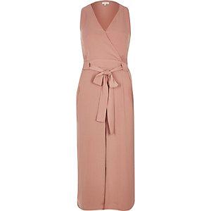 Light pink layered wrap dress