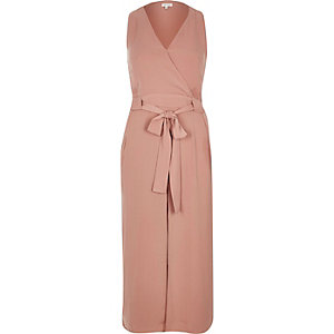 Light pink layered wrap dress