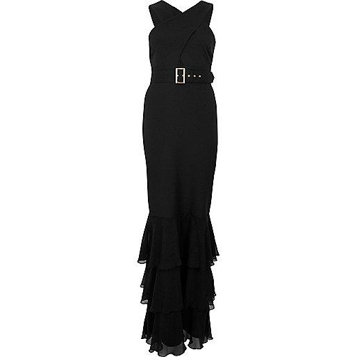 Robe longue noire à ourlet en mousseline