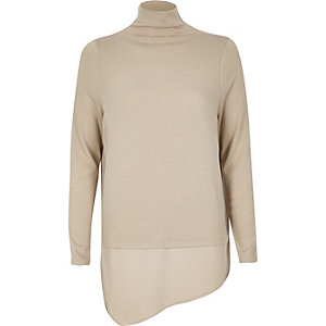 Nude high neck layered top