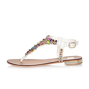 White embellished jelly sandals
