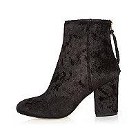 Black velvet block heel ankle boots