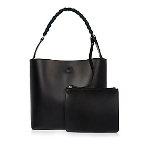 Black leather structured bucket handbag