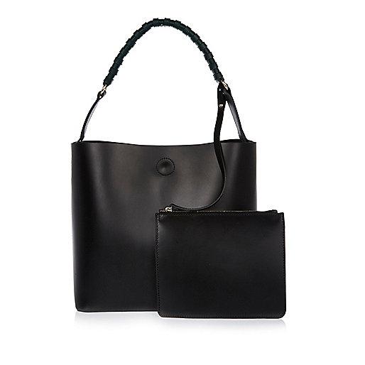 Black leather structured bucket handbag