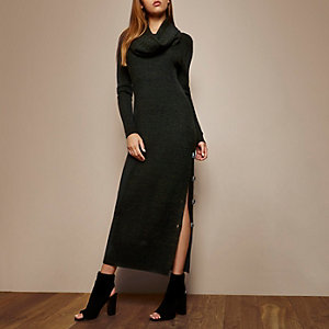 RI Studio dark green cowl neck maxi dress